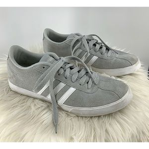 Adidas gray with white stripe suede sneaker